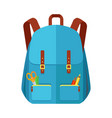 blue backpack schoolbag icon in flat style vector image