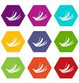 banana peel icon set color hexahedron vector image vector image