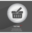 basket Flat modern web button with long shadow and vector image