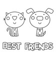 best friends coloring page vector image