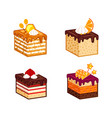 cakes pieces collection vector image vector image