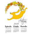 calendar 2018 year of the dog autumn calendar vector image