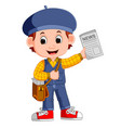 cartoon newspaper boy yelling vector image vector image