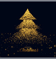 christmas tree made with golden sparkles vector image vector image