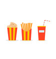 circus meal in glasses popcorn french fries vector image