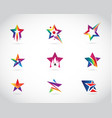 colorful star logo design set vector image vector image