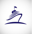 cruise ship swoosh lines icon vector image vector image