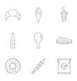 crumbly icons set outline style vector image