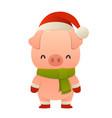 cute pig cartoon character in santa hat happy vector image vector image