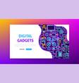 digital gadgets neon landing page vector image vector image
