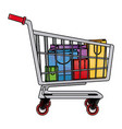 drawing cart shopping paper bag gift commerce vector image
