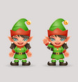 elf girls santa claus female helper christmas new vector image vector image