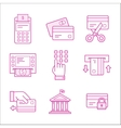 Financial security icons Linear style vector image vector image