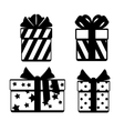 Gift boxes with ribbon bows icons set isolated vector image