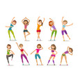 girl or young woman engaged fitness in gym sport vector image