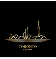 Gold silhouette of Toronto on black background vector image vector image