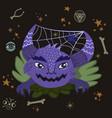 halloween monster with spiderweb in horns vector image vector image