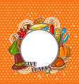 happy thanksgiving day frame with holiday objects vector image vector image