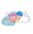 kid on clouds cartoon vector image vector image