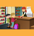 kids borrowing books in the library vector image vector image