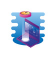 laptop computer with time clock vector image vector image