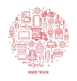 Linear icons street food vector image