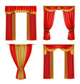 luxury curtains realistic icon set vector image vector image