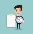 man holding a poster and a clock vector image vector image