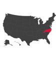 map of usa - north carolina vector image vector image