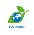 planet and eco symbol or icon natural organic vector image