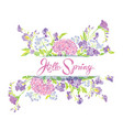 rectangular frame with flowers and calligraphic vector image vector image