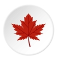 Red autumn leaf icon flat style vector image