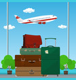 retro colored suitcases and trolley suitcase vector image vector image