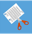 scissors cutting contract document vector image
