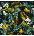 Seamless exotic tropical pattern with leaves vector image vector image