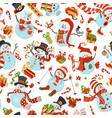 seamless pattern of cute snowmen vector image vector image