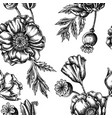 seamless pattern with black and white poppy flower vector image