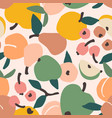 seamless pattern with fruits trendy hand vector image vector image