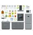 set kitchen tools icons flat vector image