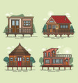 set of floating house structure swimming building vector image