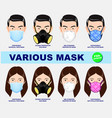 set respiratory equipment protection vector image vector image