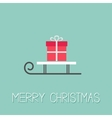 Sleigh with gift box Blue background Merry vector image vector image