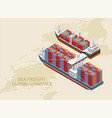 two ships of global logistics system vector image vector image