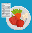 vegetables group with nutrition facts vector image