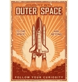 Vintage space poster with shuttle vector image vector image