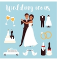 Wedding icons set Bridal ceremony car dress and