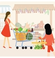 woman girl mom shopping using cart buy vegetable vector image vector image