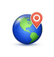 world map with pin vector image vector image