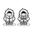 young eskimo cute couple in cartoon style for vector image
