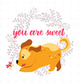 happy playing cartoon dog background vector image